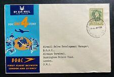1959 Sydney Australia First Flight Cover To London England Boac Jetliner Service