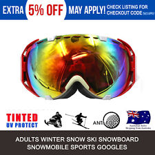 Pro Adults Ski Snow RED Googles Snowboarding Skating Lens 100% UV400 Protection