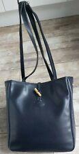 Longchamp Navy Leather Shoulder Tote Bag Vintage 90'