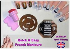 QUICK & EASY FRENCH MANICURE & LACE TIPS nail art stamping plate stamper KIT
