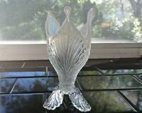Dugan White Opalescent Cleopatra's Fan Scallop Footed Vase - 1904