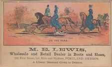 Victorian Trade Card-M E Lewis Shoes-Portland, OR-Ladies & Gent Riding Horses