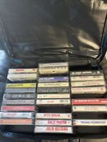 Vintage Random Music Cassette Tapes Lot Of 46w/ Blue Two Sided  Storage Case