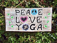 Hand Carved Made Wooden Hatha Vinyasa Yin Peace Love Yoga Shabby Wall Art Plaque