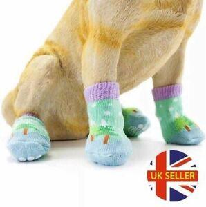 Christmas Winter Xmas Novelty Character Dog Socks, Non-slip Dog Paw injury 4pcs