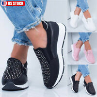 Women Glitter Rhinestone Sneaker Trainers Breathable Slip On Athletic Shoes US