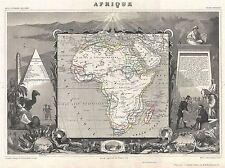 1852 LEVASSEUR Mappa Africa AFRIQUE LEVASSEUR 1852 Vintage Poster Stampa 2904pylv