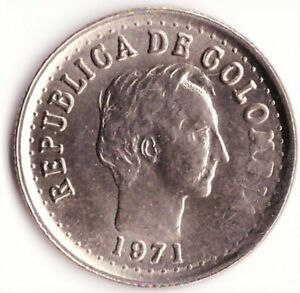 20 Centavos 1971 Colombia Coin KM#246 no gap in legend; small letters