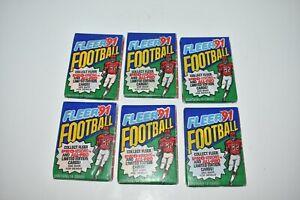 Lot of 6 Fleer 1991 NFL Football Trading Card Wax Packs