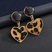 Fashion Women Heart Leopard Print Flannelette Dangle Drop Stud Earrings Jewelry
