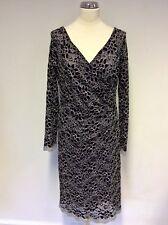 BNWT GINA BACCONI BLACK & WHITE SPARKLE LACE DRESS SIZE 14 RRP £179