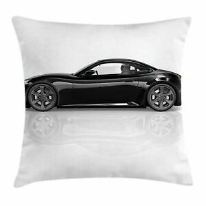 Cars Throw Pillow Case Sports Car in Black Color Square Cushion Cover 20 Inches