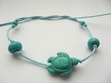 Turquoise tie-on string turtle beads bracelet anklet boho karmastring gypsy surf