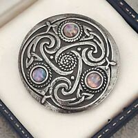Vintage Milky Pink Fire Opal Glass Scottish Celtic Knot Pewter Brooch Pin