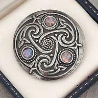 Vintage Milky Pink Fire Opal Glass Scottish Celtic Knot Pewter Brooch Pin