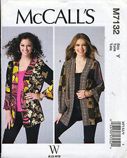 MCCALL'S SEWING PATTERN 7132 MISSES 16-26 PATCHWORK KIMONO JACKETS IN PLUS SIZES
