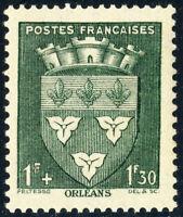 FRANCE - 1942 - Yv.556/Mi.567 1fr+1fr30 vert Blason d'Orléans - Neuf*