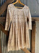 vtg 70s crochet lace sheer boho twiggy bo derek dress Mini Gogo Sz S/m