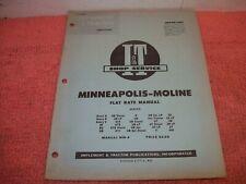 Vintage 1956minneapolis Moline Iampt Flat Rate Shop Manual Mm 9 Avery R Ub Za Zt