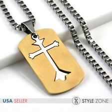 Dog Tag Pendant Square Box Necklace 12M Men's Stainless Steel Cross in Gold Tone