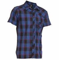 SOMBRIO HOG MENS BLUE PLAID DIGNAN SHORT SLEAVE SHIRT SIZE XS NEW WITH TAGS