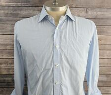 Borrelli Napoli Mens Striped Blue French Cuff Button Front Dress Shirt Large