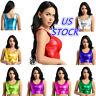 US Women Shiny Metallic Tank Vest Rave Dance Crop Top Bustier Blouse Clubwear