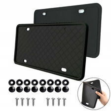 2x Universal Silicone Rubber US License Plate Back Frame Front+Rear Holder Black