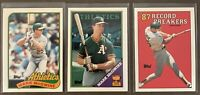 Mark McGwire 3-card TOPPS TIFFANY lot: 1988, 1988 Record Breaker & 1989