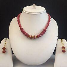 Indio Rojo Dorado Boho africano Bisutería Collar Aretes Perlas Set Nuevo