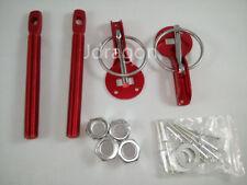 Hood Pin/Lock Red Aluminum Mount Bonnet Flip Over Locking Kit