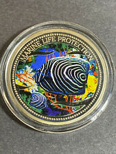 2005 Republic of Palau $1 Colorized Coin Marine Life Protection Butterfly Fish