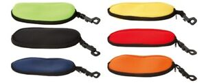 NEOPRENE FLOATING ZIPPERED EYEGLASS SUNGLASS POUCH CASE w/ CLIP HOOK