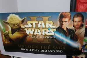 Star Wars Attack of the Clones Promotional VHS/DVD Shops Display Sign Board