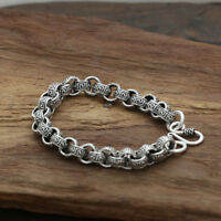 Men's Solid 925 Sterling Silver Bracelet Link Chain Stripe Loop Jewelry 8.5""