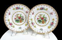 "SPODE COPELAND ENGLAND 2 PEPLOW FLORAL YELLOW TRIM 6 1/4"" BREAD & BUTTER PLATES"