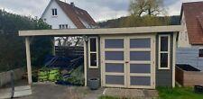 Gartenhaus mit Vordach anthrazit/beige 300x220 cm inkl. Überdachung 560x245cm