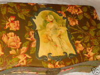 ANTIQUE VICTORIAN GIRL BASKET ROSES FLORAL CELLULOID SEWING VANITY DRESSER BOX