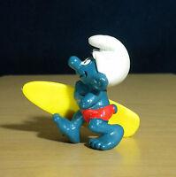 Smurfs 20137 Surfer Smurf Figure Surf Board Vintage Toy PVC Surfing Figurine 80s