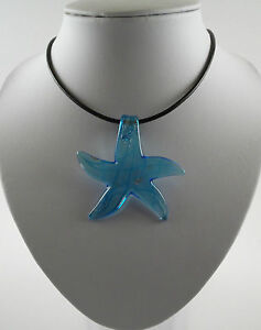 "Various Silver Foil Glass Starfish Pendants & 18"" Imitation Leather Cords."