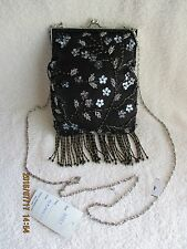 Women's Handbags & Purses Sasha Black Fabric Beads Fringe Silver Chain BagNewTag