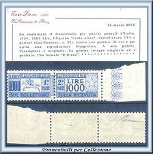 1954 Italia Repubblica Pacchi Ruota  L. 1000 Cavallino Certific. Diena Nuovo **