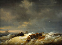 """perfect 36x24 oil painting handpainted on canvas """"Shipwreck""""@NO6713"""
