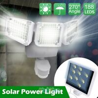 Solar 15000LM 188 LED Adjustable 3Head Garden Motion Sensor Floodlight Wall Lamp