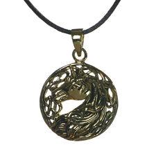 NEW Bronzo UNICORNO Testa Ciondolo Collana di Corda in confezione regalo Lisa Parker