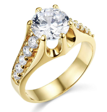 3.75 Ct Round Solid 14K Yellow Gold High Crown Setting Engagement Wedding Ring