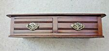 Solid Mahogany Dark Wood Two Draw Unit (Free standing or Wall Mounted)