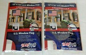 "Pair of Betsy American 12"" x 18"" Window U.S, Flags w/Suction Cups USA Made NIP"