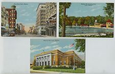 3 Linen Joplin MO Missouri Memorial Hall Swimming Pool Main Street Postcards