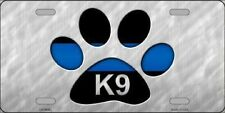 K-9 Paw Thin Blue Line Police Metal Novelty License Plate Tag